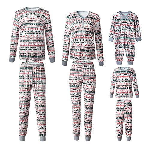 Pijama Familiar de Navidad Invierno Dos Piezas Pantalon y Camiseta Conjunto Mama Papa y Bebe Ropa Igual para Toda la Familia Sleepwear Traje de Domir Nightwear Sleepsuit Pijamas Navideños Familiares