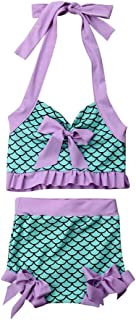 mlpeerw 2Pcs Set Toddler Baby Girl Swimsuit Floral Leopard Ruffle Swimwear Bikini Tankini Sunsuit