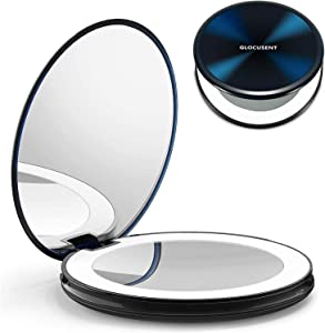 Glocusent Compact Makeup Mirror, 2-Sided 1X/10X Magnification, LED Lighted with 40 Beads, Handheld & Portable, 3 Colors & Brightness Dimmable, Rechargeable, for Travel & On The go