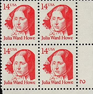Julia Ward Howe ~ Anti Slavery ~ Battle Hymn of the Republic ~ Black History ~ Abolution~ Woman Suffrage ~ Mother's Day ~ Great American Series (Scott #2176) Plate Block of 4 x 14¢ US Postage Stamps