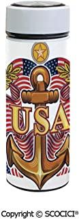 SCOCICI Vacuum Insulated Stainless Steel Water Bottle Flask Royal USA with American Flag Leaves and Star Force War Medal Print