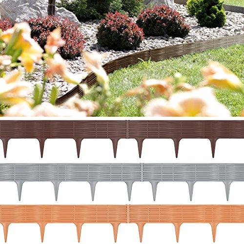 Deuba Rasenkante Beeteinfassung 7,8m Grau Zaun Optik 10er Set Beetumrandung Mähkante Randsteine
