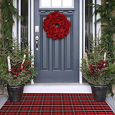 "LEEVAN Cotton Buffalo Plaid Rugs 24""x 51"" Checkered Gingham Christmas Rug Washable Woven Outdoor Porch Welcome Doormat for Layered Kitchen Farmhouse Bathroom Entryway Throw Carpet, Black and Red"