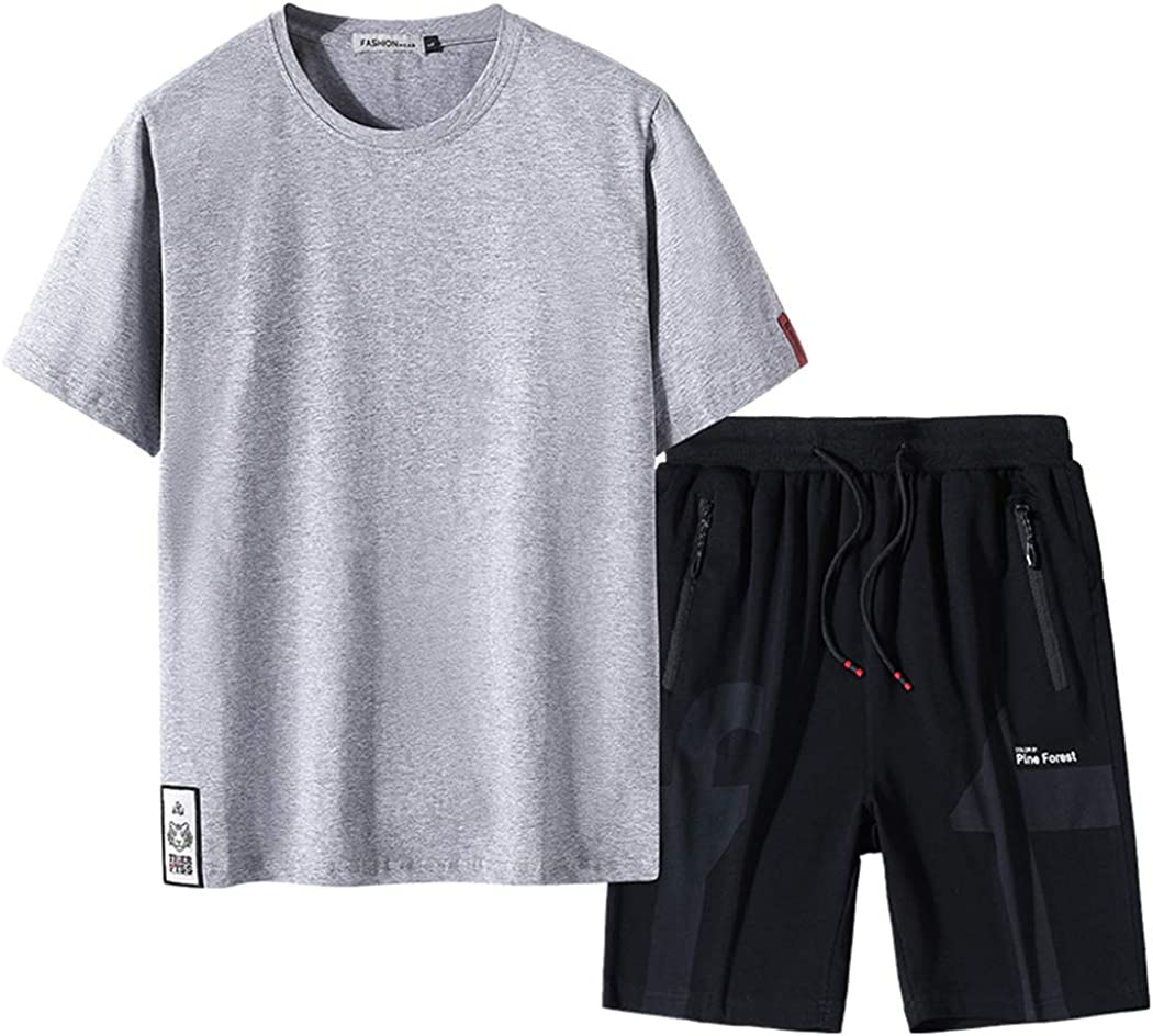 Real Spark Men's Summer Casual Tracksuit Short Sleeve Elastic Waist Activewear Jogging T-Shirt and Shorts Athletic Set