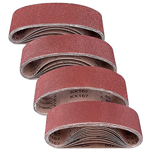 Swetup Lijas de Banda 75x533mm, 25 Pieza Bandas de Lija, 40/60/80/100 Granul Cintas de Lija, Juego de Bandas de Lijado, Lijas de Banda Para Madera Bandas Lijadora Metal Pulir, 4 Tamaños