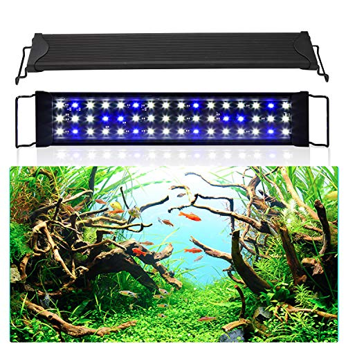 wolketon LED Aquarium Beleuchtung 24W Universal Aquarium Lampe LED Pflanze mit Verstellbarer Halterung für Süßwasser-Aquarien…