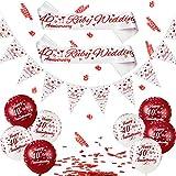 Set de 29 Decoraciones de 40 Aniversario Kit de Banner de Aniversario de Rubí Incluye Globos Happy Ruby 40 Anniversary, Banner de 40th Ruby Wedding Anniversary, 40th Escribano con Cinturón y Confeti