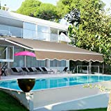 Aclumsy 13'x8.2' Patio Awning Retractable Sun Shade Cover Outdoor Patio...