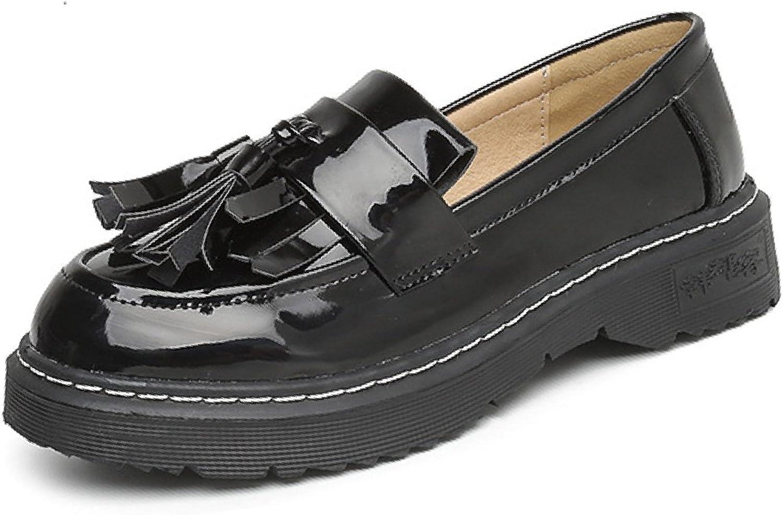 Btrada Women Tassel Oxford shoes Slip-On Flat Round Toe Sweet Dress shoes