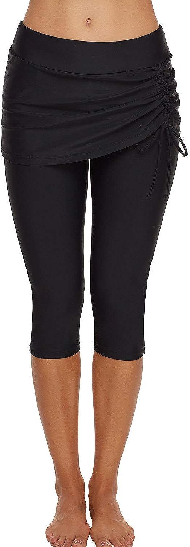 Lu's Chic Women's Capri Swim Pants Swim Leggings Taslon Long High Waisted Swimsuit Bottoms