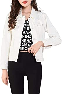 Macondoo Women's Autumn Cropped Button Down Slim Coat Denim Jacket