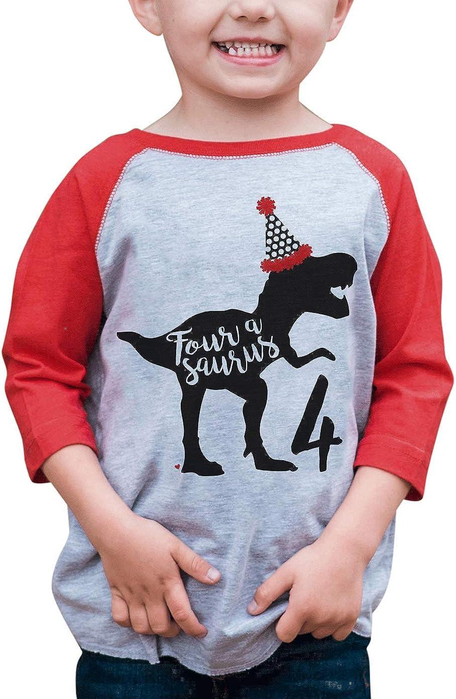 7 ate 9 Apparel Four 4 Fourth 4th Birthday Dino Dinosaur Red Baseball Tee