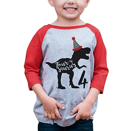 647cc30d4dd667 7 ate 9 Apparel Four Birthday Dinosaur Red Baseball Tee