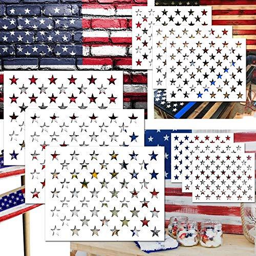 Sternschablone, amerikanische Flagge, Kunststoff, wiederverwendbar, Schablone zum Malen auf Holz, DIY, Zeichnen, Malen, Handwerksprojekte, Stoff, Airbrush-Schablone, Tagebuch, Notizbuch (9 Stück)