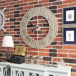 """Large Vintage Decorative Wall Clock, 24"""" Round Farmhouse Metal & Solid Wood Wall Clock, Coastal Beach, Antique Modern Style Home Decor Ideal for Living Room …"""