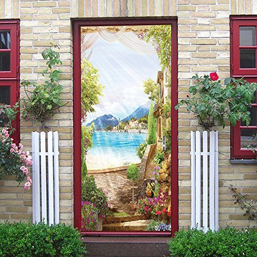 Puerta Pegatinas Mural Seaside Sunshine Landscape Autoadhesivo Impermeable Fotomurales Pared 95 x 215 cm