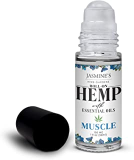 Jasmine's Herb Garden Sore Muscle Massage Oil Blend with Hemp Extract for Body - Soothes Tired & Sore Muscles, Roll-on App...