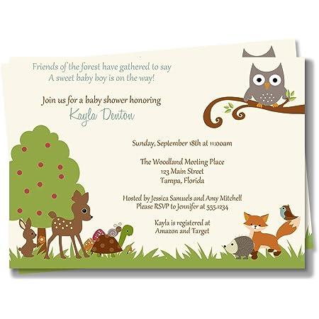 Forest Animals Woods Woodland Bear Deer Fox Raccoon Bunny Digital Printable WOODLAND BABY SHOWER Invitation Boy Baby Shower Invite
