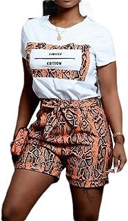 FSSE Women's Casual Short Sleeve Print T-Shirt & Shorts Tracksuit 2 Pcs Outfits