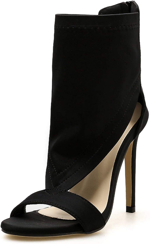 Summer Autumn Cut-Out Stretch Fabric Sandal Boots High Heels Sandals,Black,6