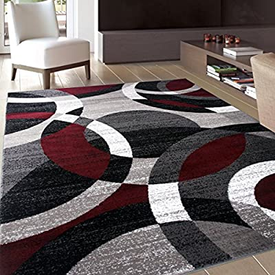 """Contemporary Modern Circles Abstract Area Rug 5' 3"""" X 7' 3"""" Red"""
