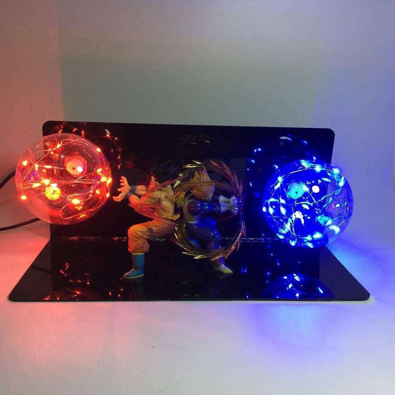 Dragon Ball LightAnime Dragon Ball Sun Wukong Hand kreative Tischlampe führte Schreibtischlampe Auge Lampe leuchtende Spielzeug, Rot und Blau