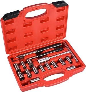 Cocoarm 17 TLG Injektor Fräser Diesel EinspritzdüSe Werkzeug Dichtsitz Fräser Diesel Satz Werkzeug Set inklusive Aufbewahrungskoffer