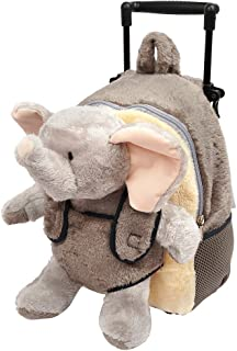 Funday 3-Way Toddler Rolling Backpack with Removable Stuffed Toy & wheels - Little Kids Luggage with Cute Plush Elephant