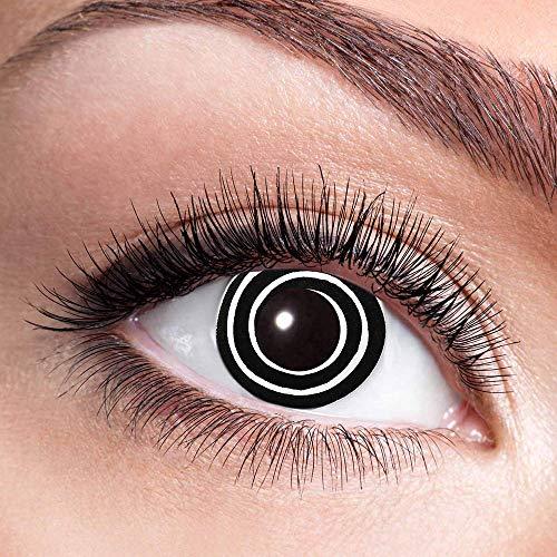 Alsino Farbige Kontaktlinsen Wochenlinsen 1 Paar Bunt Gruselig ohne Stärke für Mottopartys Halloween Fastnacht Karneval Fasching Kostüm Accessoire, (w04) Black Spiral