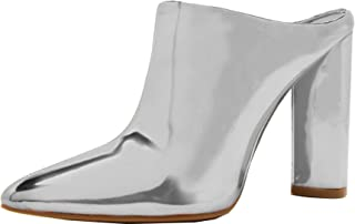 Women's Slip On Pointed Toe Stacked Chunky Heel Ankle Bootie