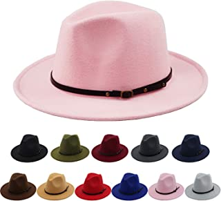 d0c5622bf64 Women Belt Buckle Fedora Hat Vintage Wool Jazz Hat Panama Hat