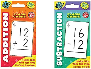 Just4fun Two (2) Sets Flash Cards - Addition & Subtraction -Early Learning - Math Skill Aids - Flash Cards - Teacher Classroom