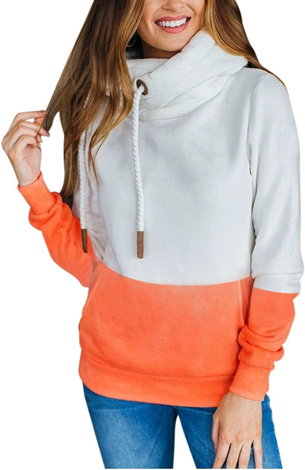 Hoodies for Women Pullover, Womens Fashion Hoodie Long Sleeve Pullover Sweatshirt Casual Color Contrast Tunic Blouse