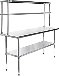 GRIDMANN NSF Stainless Steel Commercial Kitchen Prep & Work Table Plus A 2 Tier Shelf - 60 in. x 12 in.