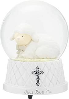 DEMDACO Jesus Loves Me White Silver Toned 6 x 4 Resin Stone Musical Water Snow Globe