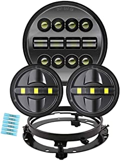 BICYACO Motorcycle 7 Inch LED Headlight Set with 4-1/2 Inch LED Passing Lamps and Bracket Mounting Ring for Harley Davidson Road King Road Glide Street Glide Electra Glide Ultra Limited - Black