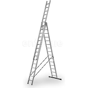 Escalera industrial de aluminio triple tijera un acceso con tramo extensible 15 x 3 peldaños serie robust: Amazon.es: Hogar