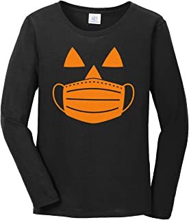 Women's Jack O' Lantern Pumpkin with Mask Halloween Costume Long Sleeve T-Shirt