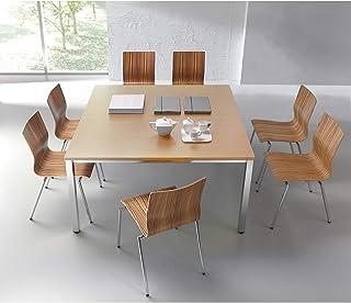 Table de conférence carrée - h x L x l 720 x 1400 x 1400 mm - façon hêtre - table de réunion - table de meeting - bureau c...