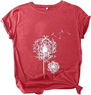 LONGTING Women Summer Casual O-Neck Casual Loose Dandelion Print Short-Sleeved Patchwork T-Shirt Blouse Tunics Tops