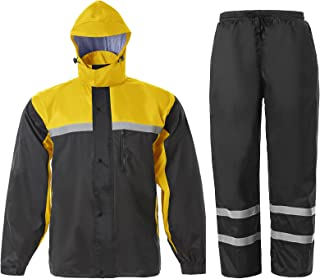 Men's Rain Suit High Visibility Reflective Work Rain Jacket Pants for All Sport Farm Fishing Motorcycle