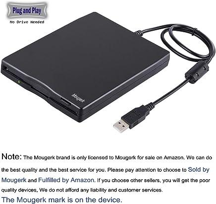 "USB Floppy Drive, Mougerk 3.5"" USB External Floppy Diskette Drive 1.44 MB FDD Portable USB Drive Plug and Play for Laptops Desktops and Notebooks (Black)"