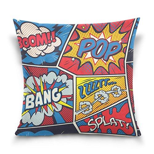 MyDaily Retro Pop Art Comic Quadratischer Kissenbezug Baumwolle Samt Kissenbezug 40,6 x 40,6 cm, Samt, multi, 45,7 x 45,7 cm