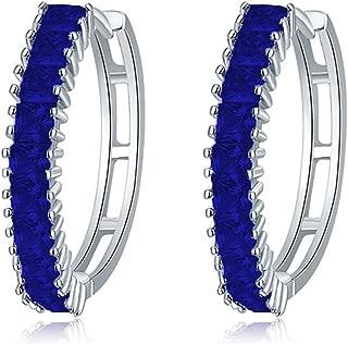 Woman Royal Blue Zirconia Crystal Sapphire Color Stone Hoop Earrings Silver Tone