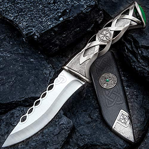 K EXCLUSIVE Twisted Celtic Dagger with Sheath - Stainless Steel Blade, Solid Steel Handle, Faux Emerald Accent - Length 10'
