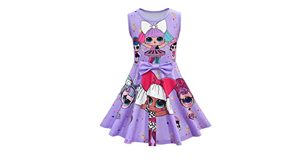 MagJazzy Little Girls Casual Dress Sleeveless Digital Printing Pageant Party Bir