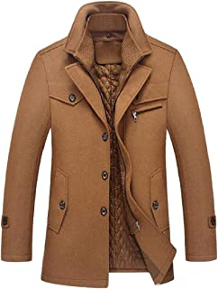 DressU Mens Stand-up Collar Solid Pocket Zip Button Plus-Size Pea Coat