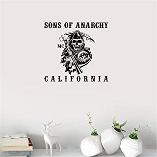 Gisuily Removable Wall Decals Inspirational Vinyl Wall Art Sons of Anarchy California for Living Room Bedroom Boys Bedroom Play Room Game Room