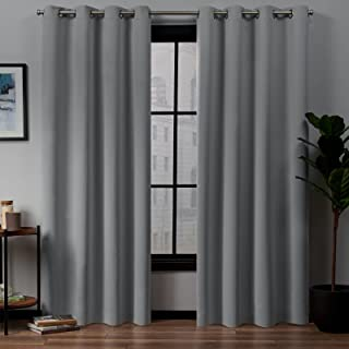 Exclusive Home Academy Total Blackout Grommet Top Curtain Panel Pair, Silver, 52x96, 2 Piece