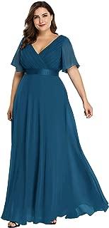 Women's Plus Size Double V-Neck Evening Party Maxi Dress 09890